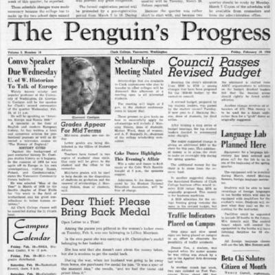 The Penguin's ProgressFebruary 19, 1960  Vol. 2 No. 18