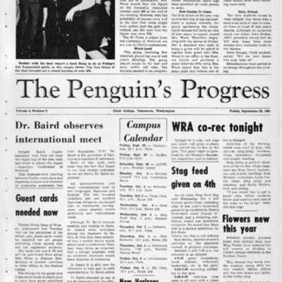 The Penguin's ProgressSeptember 29, 1961 Vol. 4 No. 3